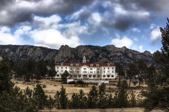 Stanley Hotel and puffy clouds (Lori_Bucci_Photography) Tags: travel trees vacation sky mountain mountains history tourism clouds forest hotel colorado hiking mountaintown ghost fortcollins roadtrip denver boulder haunted loveland stanley rockymountains estespark stephenking rockymountainnationalpark ftcollins larimer theshining historiclandmark lumpyridge twinowls ghosthunters mummyrange ghostadventures lorddunraven loribucciphotography loribucci lorilockhartbucci