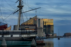 Inner Harbor (Tom Haymes) Tags: sunset clouds reflections harbor md maryland baltimore innerharbor nationalaquarium sailingship ussconstellation glassbuildings baltimoremaryland