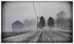 The Farm Before the Zombies Arrived (vladdythephotogeek) Tags: road blackandwhite fog fuji pennsylvania farm january eerie selectivecolor x100 2013