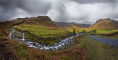 Kettle Crag & Redacre Gill (Langdale Panorama), Lake District (flatworldsedge) Tags: road england cloud lake rain rocks stream day sheep farm district curves farming pass front rapids national rainy waterfalls valley cumbria fells trust bracken walls peaks curve gill crags cascade serpentine drystone langdales snaking herdwick redacre uploaded:by=flickrmobile flickriosapp:filter=nofilter yahoo:yourpictures=england2013 yahoo:yourpictures=curves