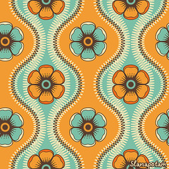 Fashion pattern with flowers in retro color (Slanapotam) Tags: summer wallpaper abstract flower color green art texture geometric floral fashion circle paper print design colorful pattern dress graphic bright teal background decoration style wrap symmetry retro petal textile fabric jade round backdrop symmetrical cloth shape simple emerald vector seamless repeat endless regular
