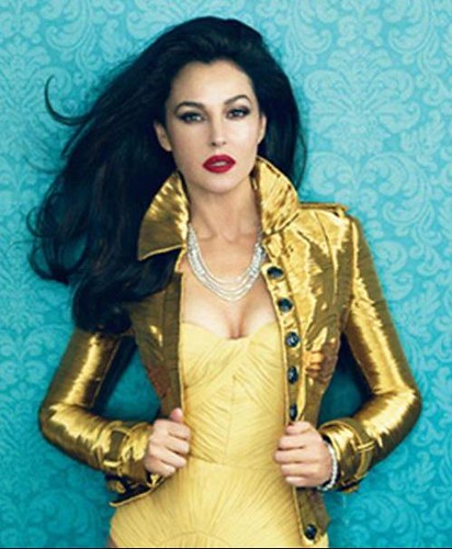 Monica Belucci Vanity Fair Spain Feb edition 2013 Gold Jacket and WOWZA