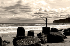 Fishing on the Rocks - Reighton, North Yorkshire (IanAndrews1957) Tags: sea bw landscape coast fishermen yorkshire cliffs northyorkshire filey reighton speeton