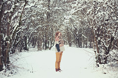 (Marschie) Tags: winter snow cold tree nature girl beautiful fashion forest hair snowflakes clothing woods pretty seasons curls redhead clothes curly stunning scarve marschie