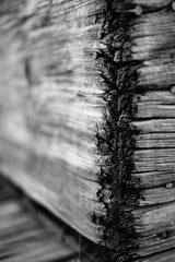 The Divided States (belleshaw) Tags: blackandwhite orangeempirerailwaymuseum wood chest nails rust metal rough texture age decay corner grain detail bokeh