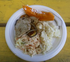 Lunch in Rarotonga (Derryn_NZ) Tags: islandfood fish seafood salad freshfood pawpaw coleslaw potatosalad