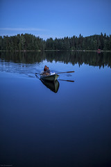 night rowing (sami kuosmanen) Tags: suomi finland tuulos sky summer nature night taivas tree travel forest luonto landscape lake jrvi kes y north nainen mets mies man woman rowing soutaa tyyni reflection