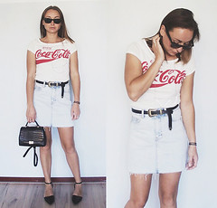 Coca Cola tee denim skirt by Magna G., girl from Eindhoven, Netherlands (9lookbook.com) Tags: asos basic birthday black blackandwhite bluejeans bomber chic cocacola coord denim dungarees elegant embellished festival floral jacket jeans legs maxidress minimal navy overalls party petite petitestyle pink pinkbomber print prints rock satinbomber sequin spring springoutfit stars street stripes summer sunglasses tee topshop travel tshirt tweed vacation whitetee pullampbear