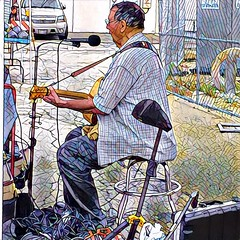Whitey O'Day (Renee Rendler-Kaplan) Tags: musician performance whiteyoday outdoors outside august 2016 parkridgefarmersmarket parkridgeillinois iphone iphoneography he him artist there play playing singing sit seated sitting reneerendlerkaplan market farmersmarket equipment microphones wires stool people