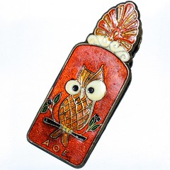 Athenian Owl (Gillian Everett) Tags: greek paper clip vintage brass 7daysofshooting week6 stationery macromonday owl athenian greece olive branch