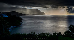 Bali Hai (Michael Zampelli) Tags: hanalei bay sunset rain panorama timeexposure hawaii kauai