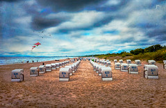 """Beach chairs"" (Gnter Nietert) Tags: balticsea heringsdorf seebad sunset boat pier digitalphotoart germany fineart fotogruppestadtsteinach costalresortheringsdorf gnternietert clouds coast usedom"