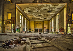 the party is over (bocero1977) Tags: lines ruin wooden old hdr windows light concerthall hall nikon fineart graffity abandoned architecture building auditorium door stage colors