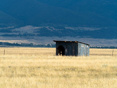 Shelter on the Plain (Zen Captures) Tags: olympus landscape sunset olympusomdem5ii outdoor yellowstone zuiko trees summer west outside architecture sky montana zd mountain omd