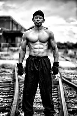 Martel VI (giladvalkor) Tags: man people guy gritty blackandwhite cap black fitness muscles exercise railroadtracks shirtless abs physique body