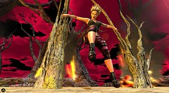 Earth Song (Athena0232) Tags: women blonde shoes ripped leggins tanktop trees fire red sky ruma insanya kc couture argrace crazy garden tspot design