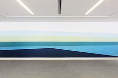 NYC Office Wall Paint Design (Paintzen) Tags: wall art gray carpet rug abstract interior design office space ceiling lights blue tones shades geometrical pattern floor nyc startup paint