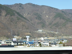Too early for leaves in these forests (seikinsou) Tags: japan spring omiya kanazawa shinkansen jr railway train travel hakutaka windowseat view mountain snow forest bare leaf plain valley