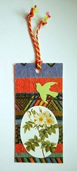 GT3 - Handmade gift tag (tengds) Tags: gifttag giftpaper flowers white green orange bird ribbon oval papercraft handmade tengds
