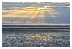 Wind farm from Crosby beach (Dave Moseley Photography) Tags: crosbybeach merseyside anotherplace anotherplacesculpturesbyantonygormley sunset northwest davemoseleyphotography sculpture beach castironfigures liverpool
