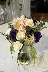 Unstructured ivory , blush and purple bouquet (The Blooming Idea) Tags: bridalbouquet wedding dahlias roses lisianthus freshlavender unstructured