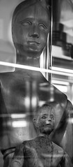 Like father, like son (Noel Leone--my reality in and out of focus) Tags: likefatherlikeson quiteapair wooden reflections mono bn bw