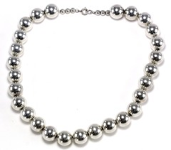 1065. Sterling Silver Bead Necklace
