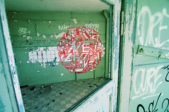 3D mandala on green walls (dvid) Tags: door red streetart berlin graffiti drawing perspective urbanart madala greenwalls