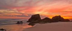 redhead beach sunset (leighberry) Tags: ocean sunset sky beach clouds canon newcastle eos rocks surf australia redhead nsw