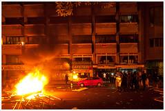 General Strike Shoot (Libertinus) Tags: madrid street espaa fire calle riot spain raw cops strasse smoke police strike resistencia fuego tamron humo policia rauch 30d resistence feur huelga bullen generalstrike barricada 14n huelgageneral