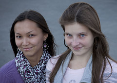 Kazakh and russian ethnic girls, Astana, Kazakhstan (Eric Lafforgue) Tags: girls portrait people cute girl beautiful beauty smile face horizontal youth outside outdoors person togetherness exterior friendship blueeyes capital joy headshot jeunesse together teenager belle earrings capitale c