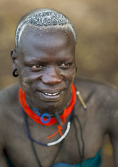 Portrait Of Senior Bodi Man Smiling Ethiopia (Eric Lafforgue) Tags: africa portrait people haircut vertical happy village picture tribal photograph hana blackpeople omovalley ethiopia tribe hairstyle tribo frontview colorphoto whitehair nomadic eastafrica thiopien etiopia onepersononly ethiopie etiopa humanface manmen onemanonly maturemen onematuremanonly  etiopija matureadults ethiopi indigenousculture  etiopien etipia  etiyopya  snnpr southernethiopia truepeople 3539years   exterioroutdoors  omotic   4044years    southernnationsnationalitiesandpeoplesregion blackethnicity hanamursi ethiopianomovalley abyssiniahornofafrica mursimurzu bodimeenmeen ethio3285