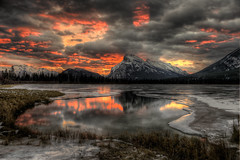 (kilr_pics) Tags: winter snow ice sunrise alberta rockymountains mountrundle banffnp daarklands
