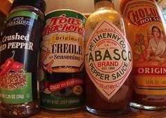 Spices of Life (Mordryd) Tags: food hot pen logo lunch pepper olympus fisheye condiment tabasco spicy hotsauce olympuspen cholula creole ep3 rokinon rokinonfisheye