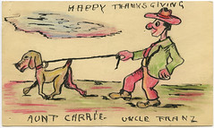 Happy Thanksgiving (Crafty Dogma) Tags: thanksgiving dog walking handmade vintagepostcard vintageillustration originaldrawing
