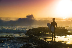 Conquer (Kokkai Ng) Tags: new morning man beach silhouette wales sunrise dawn one big day looking surfer south sydney young wave australia surfing clear surfboard newsouthwales why dee conquer clearsky placeofinterest lpdawn