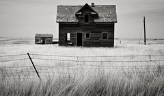 Appam House (Rodney Harvey) Tags: old blackandwhite house abandoned truck fence north infrared lonely prairie plains desolate dakota ghostown