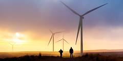 Turbine Trail (PMMPhoto) Tags: sunset people mist silhouette fog scotland turbine windfarm turbines whitelee