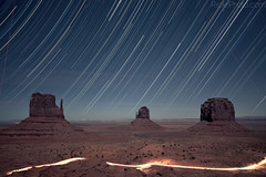 Monument Valley Star Trail (RickrPhoto) Tags: light 2 arizona monument rose canon painting stars photography star utah long exposure angle mark indian wide trails rick ii valley l mk2 5d f28 mk navaho 1635 rickrphoto