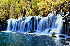 Arrow Bamboo Lake falls.   (xiaomeisun ( I am back online )) Tags: china travel autumn lake nature landscape waterfall sichuan jiuzhaigou xiaomeisun rememberthatmomentlevel1 rememberthatmomentlevel2