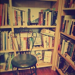 Book Nook ~ Hemingway at the corner (tickleblackwombat) Tags: vintage square books bookstore squareformat lovely secondhand bookworm booklover iphoneography instagramapp