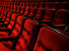 intermission (Mr.  Mark) Tags: red abandoned movie photo 3d chair pattern theatre empty seat lifeofpi stock perspective row cushion markboucher