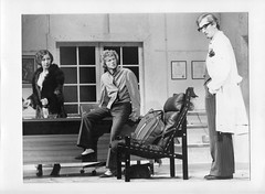 Pat Bishop (Mrs Prentice), Chris Benaud (Nicholas), Alan Becher (Dr Prentice) in What the Butler Saw by Joe Orton, directed by Terence Clarke, designed by Eamon D'Arcy; Hunter Valley Theatre Company production at the Hunter theatre, Merewether, 1977. (UON Library,University of Newcastle, Australia) Tags: actors theatre acting drama theatrecompanies huntervalleytheatrecompany thehuntervalleytheatrecompany australiantheatrecompanies newcastletheatrecompanies a9029245