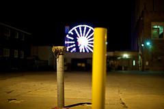 Poles and a Ferris (Nunziray) Tags: ocean christmas new city night lights newjersey holidays dof bokeh nj depthoffield jersey oceancity oc raynunzi