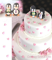 Penguin cake toppers on romantic wedding cake (PassionArte) Tags: cake wedding bride groom figurines clay handmade personalized pink hearts white black penguins bridal unique cute elegant romantic