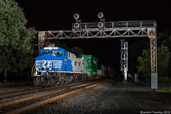 Norfolk Southern 4001 in Waterloo, Indiana (Brandon Townley) Tags: trains railroad strobist strobes flash ns4001 norfolksouthern night 4001 newyorkcentral signalbridge signals waterloo indiana