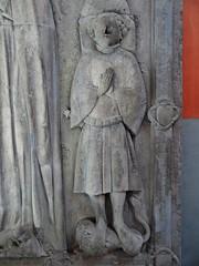 ca. 1406 - 'Batrice (Batrix) de Beau(s)sart (1419) and son Guillaume de Melun (+1406)', castle chapel, Chteau d'Antoing, Antoing, province of Hainaut, Belgium (roelipilami) Tags: 1406 beatrice beatrix de biausart beausart beaussart guillaume melun 1419 antoing chateau castle kasteel hainaut belgium dalle funraire grafbeeld grafplaat tomb effigy gisant sepulcro grabmal grabdenkmal grafmonument grave son mother tabard surcotte surcoat mail standard boy belt houppelande titling helm frog mouth helmet bull crest spur armor armour knight ritter rstung harnas armure sabaton wapenrok