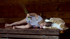 Absolute relaxation (VeeePhotoJourney) Tags: girl cat summer enjoying little things flowers wood playing nikon 7100