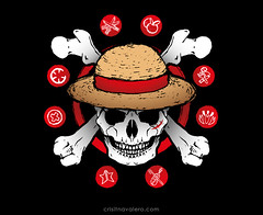 Rey pirata (Cristina Valero) Tags: onepiece mugiwara sombrerodepaja pirata bandera calavera huesos crneo fanart ilustracin