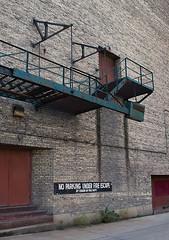 Do not park under fire escape (floating_stump) Tags: doorsopenmilwaukee 2016 wisconsin fireescape brickwall rebelt5i